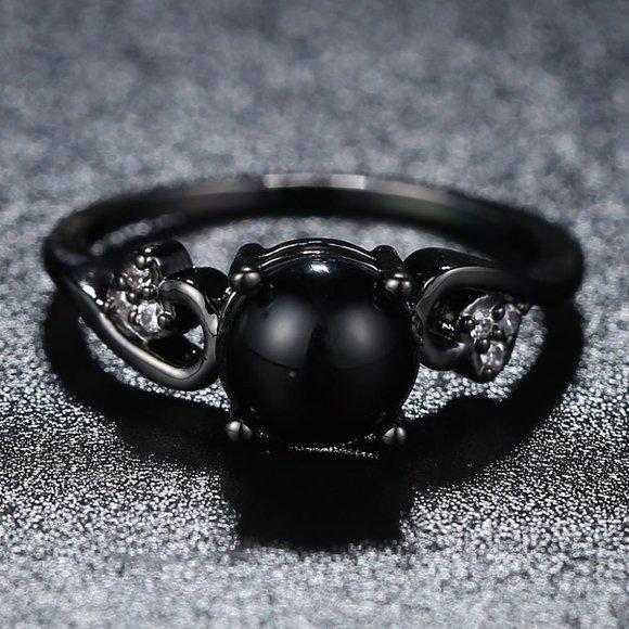 1 CT Round Black Onyx Diamond Black Gold Ring
